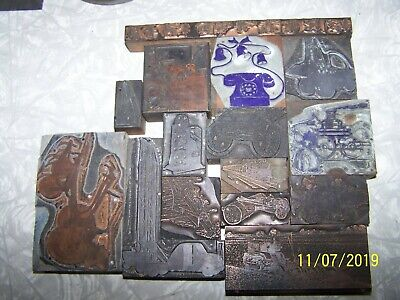 15 Pcs Vintage Letterpress Metal On Wood Mechanical Theme Images Printing Blocks