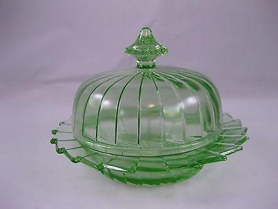 Jeannette Sierra Green Depression Glass Butter Dish - MINT