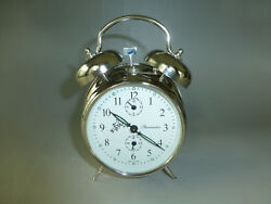 EXC. Vintage German Double Bell Mechanical Wind Up Alarm Clock (Watch The Video)