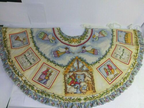 Dianna Marcum Nativity Angels Christmas Tree Skirt Hand Quilted Painted Large SZ