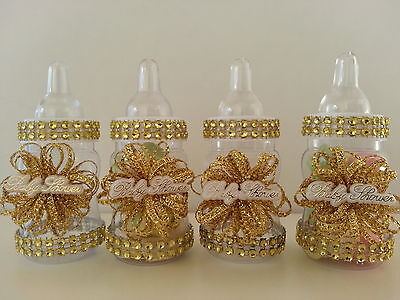 12 Gold Fillable Bottles for Baby Shower Favors Prizes or Games Girl Decorations (Baby Shower Decor For Girls)
