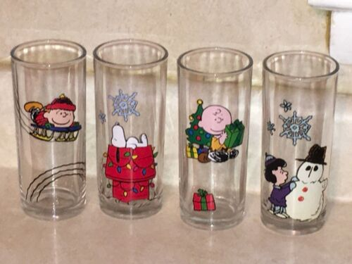 4 PEANUTS Christmas Glasses VANDOR Snoopy - Charlie Brown -  Lucy  -  Schroeder