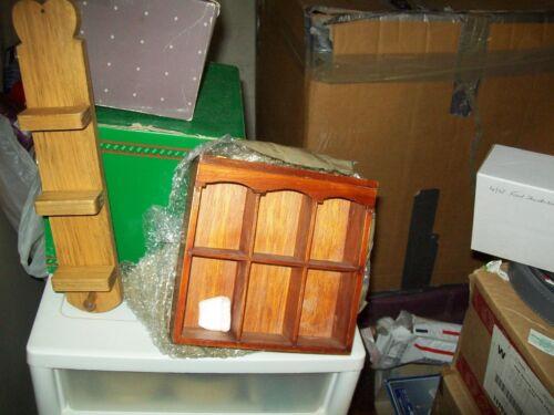 Vintage Wooden Thimble/Knick Nack Display Case/Mini Open Shelf--Set of 2
