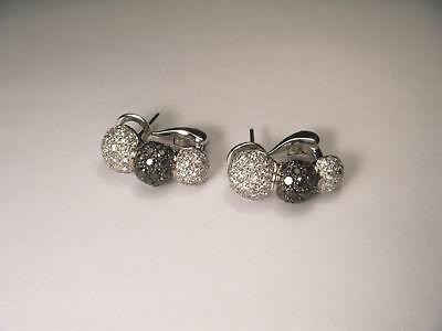 Fashionable 18K White Gold Black and White Diamond Earrings