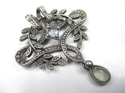 Jugendstil Anhänger 835 Silber Edelstein Mondstein um1900 Boheme silver pendant