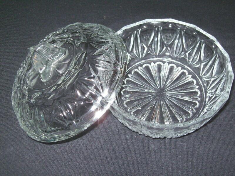 Trinket Pot Jewelry Box Bowl Round Glass