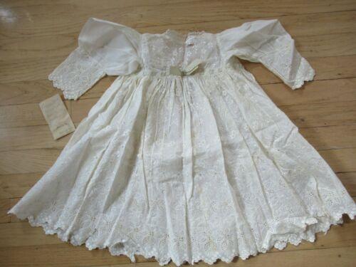 Antique 1835 Exquisite Handmade Embroidered & Eyelet Infant Christening Dress