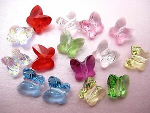 2-Genuine-SWAROVSKI-Crystal-5754-Butterfly-BEADS-8mm-Clear-AB-Lt-Rose-Fuchsi