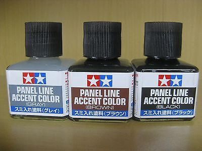 TAMIYA Panel Line Accent Color 3-colors (Black,Brown,Gray) Set