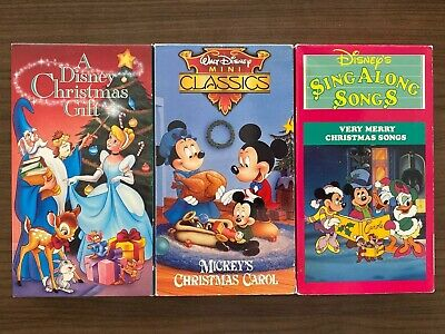 A Disney Christmas Gift Sing Along Songs Mickey Christmas Carol Box Set VHS Rare