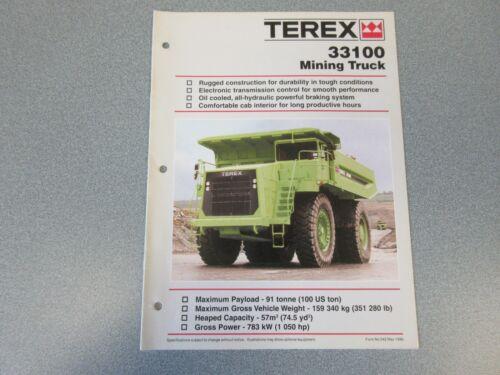 Terex 33100 Dump Mining Truck Literature