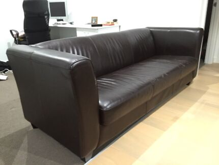 Sturdy deep brown leather sofa (3 seater) Meadowbank Ryde Area Preview
