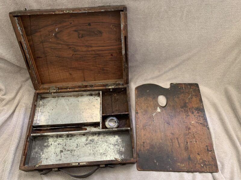 Antique 1800's Pochade Painter's Box, English Or French Walnut