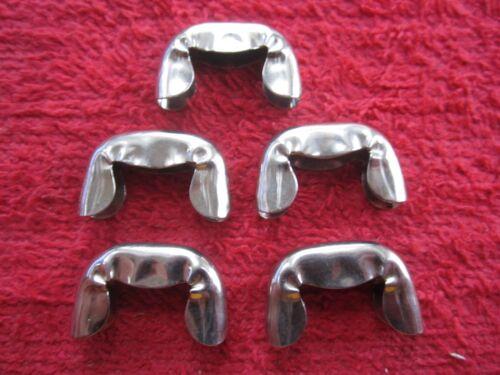5 VINTAGE ANCHOR BRAND LEATHER or CLOTH BELT END TIPS, NICKEL PLATED, NOS USA