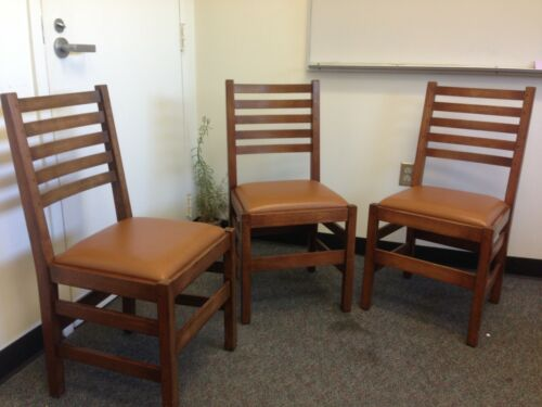 Three Stickley Antiquities Collection Chairs Oak & Leather Arts & Crafts Mission