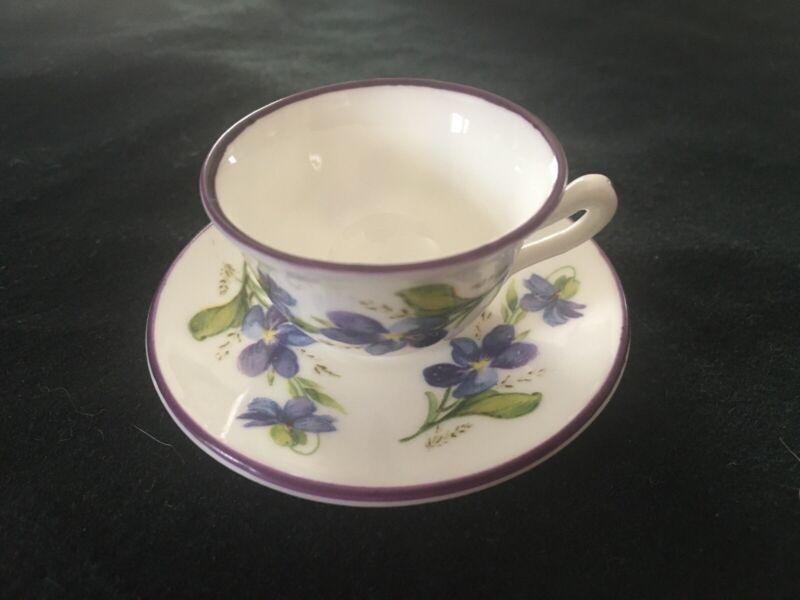 Crown Staffordshire Miniature Tea Cup & Saucer Set- Violets