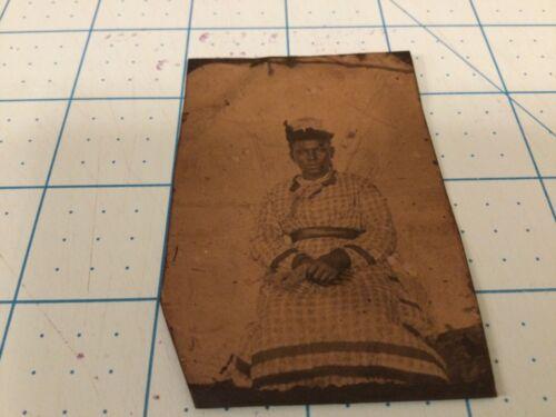 "Antique Black Americana tin type photo woman 2x3"""