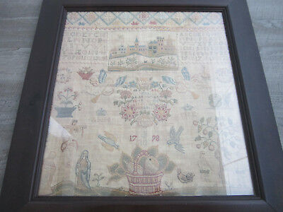 Laura Ashley Framed Reproduction Art Print Of An 18th Century Needlework Sampler
