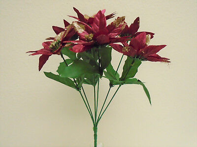4 Bushes BURGUNDY Christmas Poinsettia 7 Artificial Flowers 12
