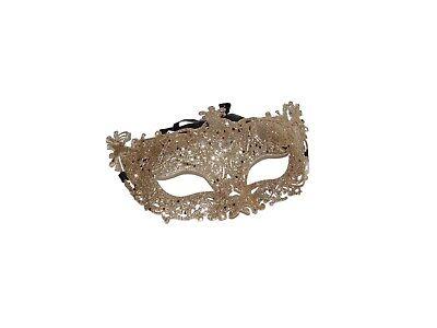 12 CHAMPAGNE ROSE GOLD GLITTER MASQUERADE MASKS BULK WHOLESALE PARTY VENETIAN - Venetian Masks Wholesale