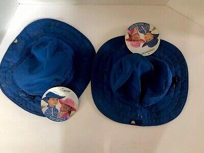 NWT Sun Protection Zone Kids' UPF 50+ Safari Sun Hat (Blue) Set Of 2 - Safari Hats Kids