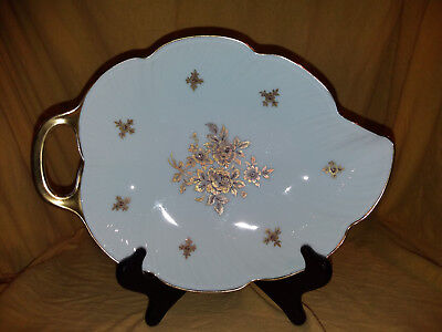 AK Kaiser Porzellan Schale mit Griff , Blattform Nr.181 weiß / gold Top Zustand