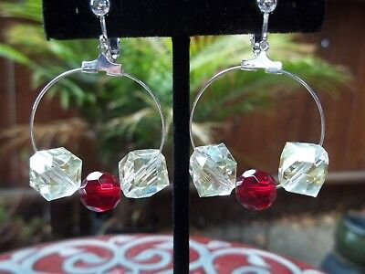 Square Beaded Hoops - Gorgeous Hoop Style, Pale Yellow Square & Red Round Beads Dangling Clip Earrings