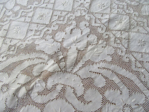 Vintage Large Punto Tirato Lace Tablecloth All Over Flowers