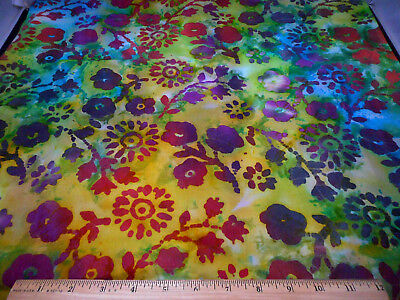 Batik Fabric By The Half-Yard Purple Pink Floral Yellow Grn Turquoise Cotton #47 ()