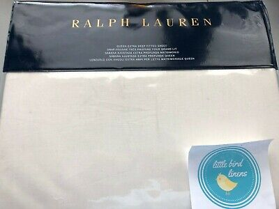 RALPH LAUREN HALF MOON BAY NADIYA CREAM QUEEN SIZE FITTED SHEET for sale  Shipping to Canada