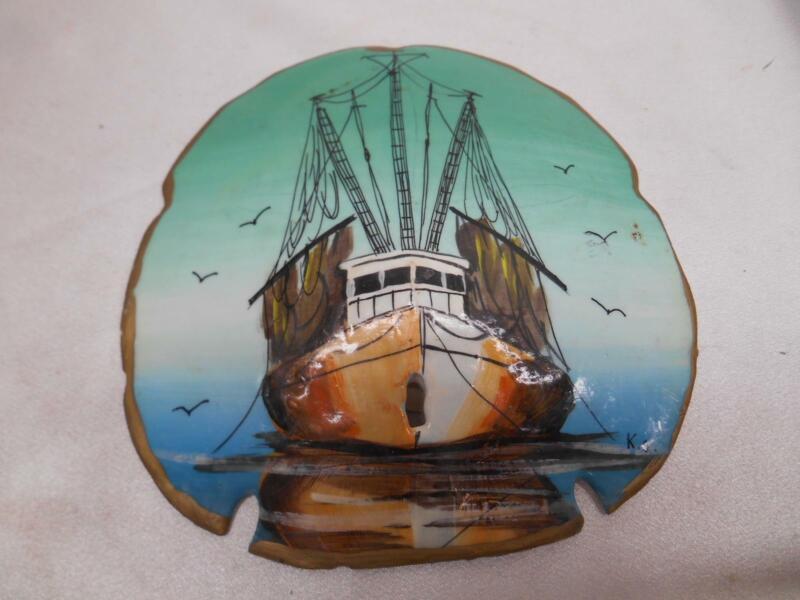 Old Vtg JEKYLL ISLAND SAND DOLLAR HAND PAINTED SHIP NAUTICAL MOTIF ARTIST SIGNED