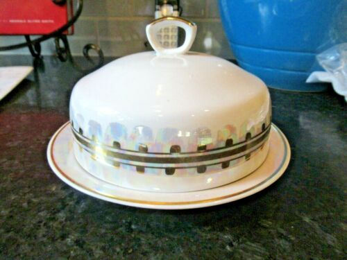 """China White  Butter Dish Cover Round Large iridescent Handle 6"""" EXCELLENT"""