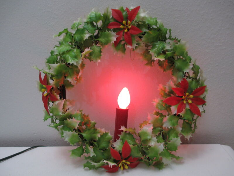 "Christmas Decor - Holly Wreath Red Candle Light Plastic Foliage 12"" D"
