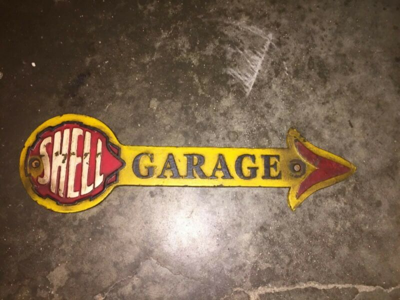 """Shell Oil Garage Cast Iron Sign 16"""" Solid Metal Patina Vintage Style Sinclair Ex"""