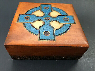 Celtic Cross Wooden Jewelry Box 4x4 Wood Trinket Box  Celtic Cross Trinket Box