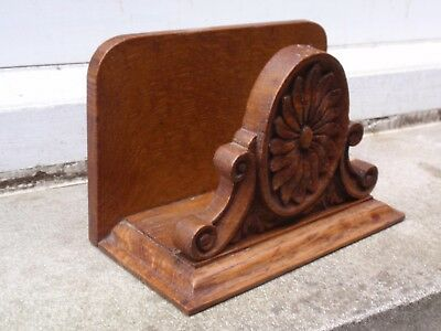 VINTAGE EDWARDIAN CARVED WOOD WOODEN WRITING DESK TOP LETTER RACK (B)