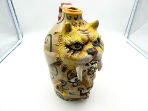 stacy lambert  saber tooth tiger face jug, pottery, folk art   8