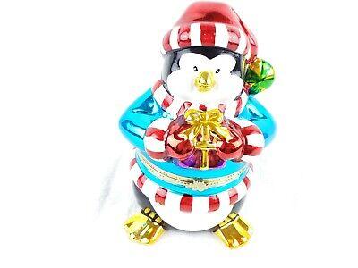 "Ceramic Penguin Music Box With Interior Carousel-Mr Christmas ""Joy To The World"" Carousel Box Music Box"