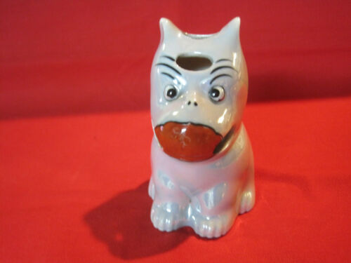 Vintage porcelain figural dog toothbrush holder figurine