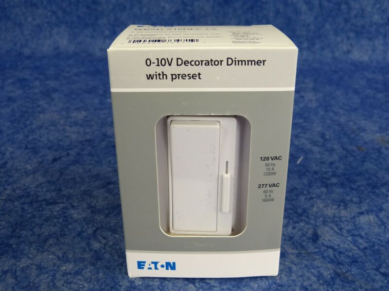 NEW! Eaton WBSD-010DEC-C5 Decorator Dimmer 0-10V Ivory 1 Pole/3-Way BLK,WHT,GRY