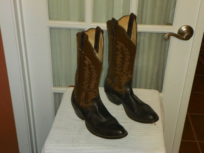 W, W, Brands, Mens, 8.5, D, Tall, Leather, &, Genuine, Lizard, Skin, Cowboy, Boots,