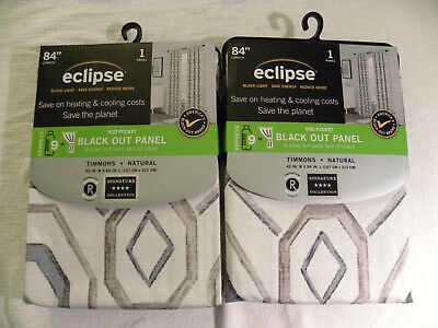 Lot fo 2 Eclipse Black Out Curtain Panels- NATURAL -Rod Pocket - 42