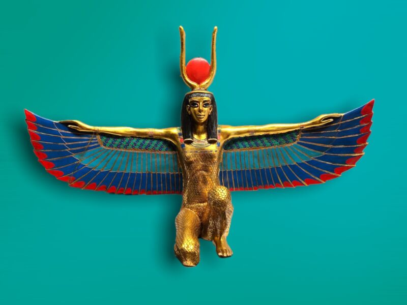 Rare Artisan Guild International AGI Egyptian Goddess ISIS Statue 24k Leaf