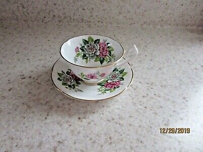 Vintage Collingwoods Bone China England Pink Flowers Tea cup and saucer numbered Bone China England Tea Cup