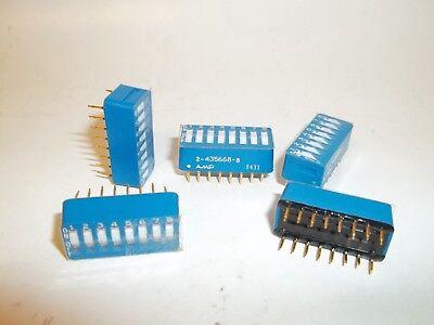 10 Pcs Amp 8 Position Dip Switch 2-435668-8 Low Profile Flush Rocker Blue Fs