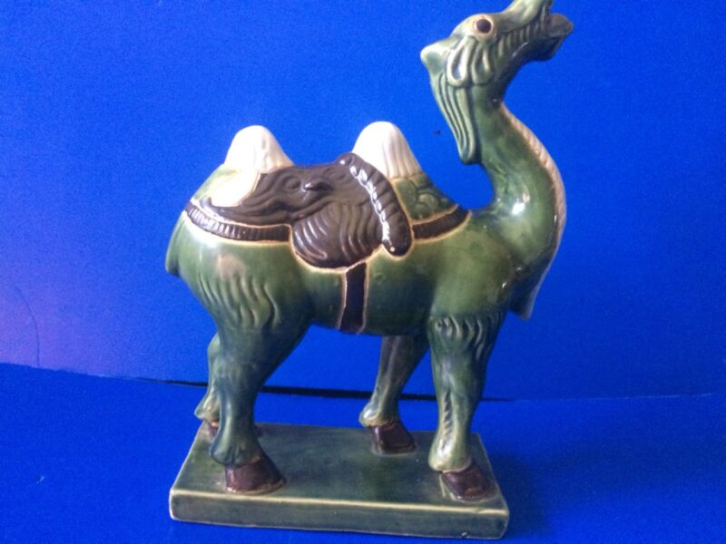 Rare Chinese Pottery Camel Statue Green Color