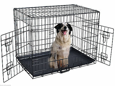 "42"" 2 Doors Wire Folding Pet Crate Dog Cat Cage Suitcase Kennel Playpen w/ Tray"