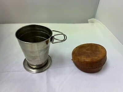 Vintage Metal Collapsible Cup with Leather Pouch - Made in USA