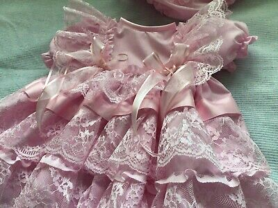 """HANDMADE BABY 3-6MTHS or Reborn 22"""" Lacey COTTON DRESS All Pink."""