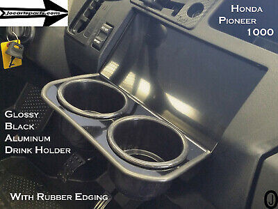 Honda Pioneer 1000 JUMBO Dash Cup Holder Black Coated Aluminum With Rubber edge